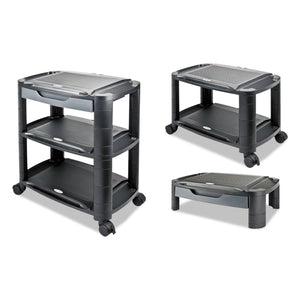 "Alera 3-in-1 Storage Cart and Stand, 21 5/8""w x 13 3/4""d x 24 3/4""h,Black/Gray"