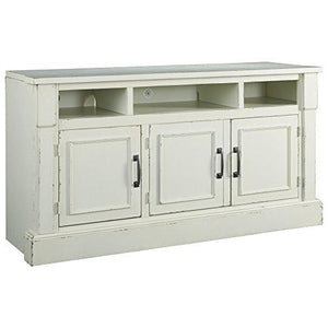 Ashley Furniture Signature Design - Blinton TV Stand with Shelves - Country Chic - White