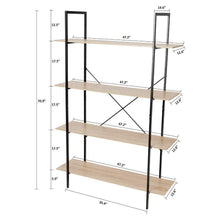 Load image into Gallery viewer, Organize with c hopetree open bookcase bookshelf large storage ladder shelf vintage industrial plant display stand rack home office furniture black metal frame 4 tier open