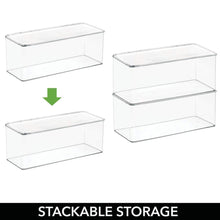 Load image into Gallery viewer, Buy now mdesign long plastic stackable home office supplies storage organizer box with attached hinged lid holder bin for note pads gel pens staples dry erase markers tape 8 pack clear
