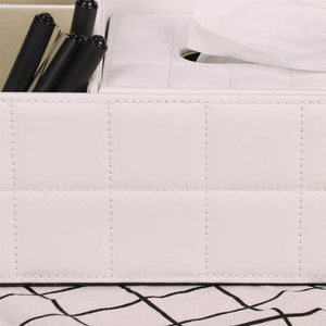 Top ladder multifunctional tissue box cover pu leather pen pencil remote control holder office desk organizer white soft sheep
