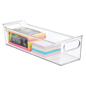Discover mdesign slim plastic home office storage bin container desk and drawer organizer tote with handles holds gel pens erasers tape pens pencils highlighters markers 14 long 4 pack clear