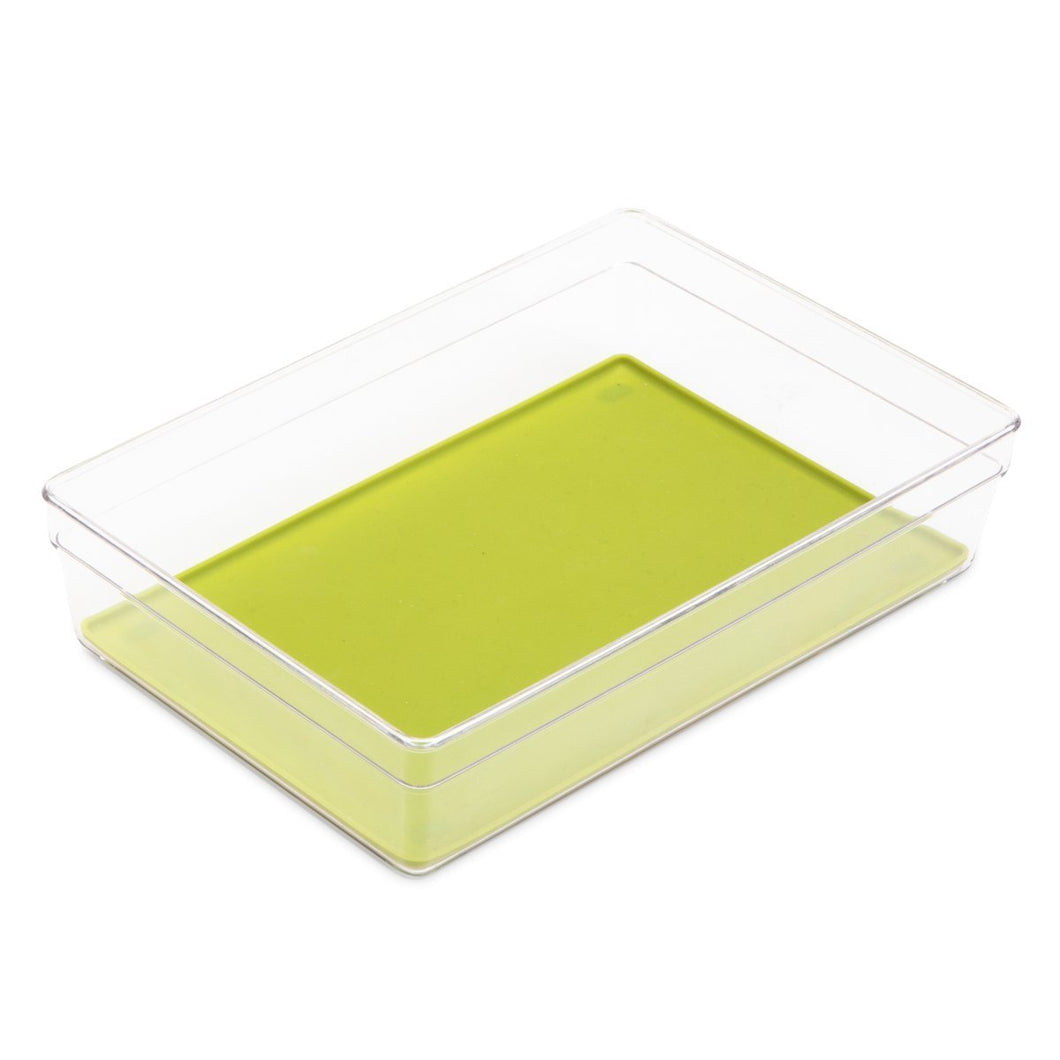 Products smart design plastic drawer organizer w silicone bottoms bpa free for utensils flatware or office items home organization 9 x 6 inch green