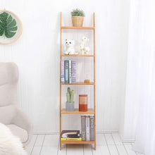 Load image into Gallery viewer, Selection exilot natural bamboo ladder shelf 5 tier wall leaning bookshelf ladder bookcase storage display shelves for living room kitchen office multi functional plant flower stand shelf