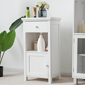 Featured tangkula bathroom floor storage cabinet wooden storage cabinet for home office living room bathroom one drawer cupboard organize freestanding cabinet white