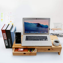 Load image into Gallery viewer, New computer monitor stand with drawers wood tv screen printer riser 22 05l 10 60w 4 70h inch desk organizer in home office
