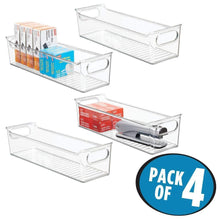 Load image into Gallery viewer, Explore mdesign slim plastic home office storage bin container desk and drawer organizer tote with handles holds gel pens erasers tape pens pencils highlighters markers 14 long 4 pack clear