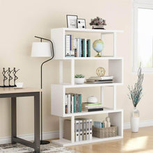 Load image into Gallery viewer, Kitchen tribesigns 4 shelf bookcase modern bookshelf 4 tier display shelf storage organizer for living room home office bedroom white