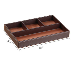 Best valet tray men nightstand drawer organizer 4 compartments pu leather office table stationery storage box for key phone coin wallet jewelry glasses cosmetics business card pen watch note paper brown