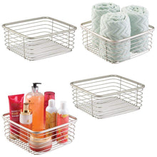 Load image into Gallery viewer, Order now mdesign modern bathroom metal wire metal storage organizer bins baskets for vanity towels cabinets shelves closets pantry kitchens home office 9 75 square 4 pack satin
