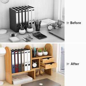 Kitchen tribesigns bamboo desktop bookshelf counter top bookcase adjustable with 2 drawers desk storage organizer display shelf rack for office supplies kitchen bathroom makeup natural