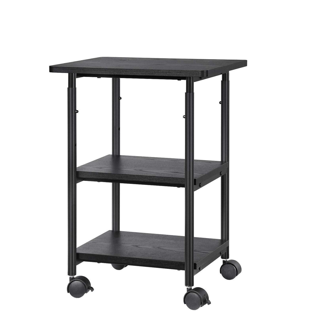 Best songmics adjustable printer stand desk mobile machine cart with 2 shelves heavy duty storage trolley for office home black uops03b