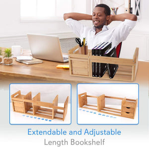 Kitchen bamboo wood expandable desk organizer desktop tabletop organic wooden filing organization bookshelf w storage drawer for book home office file paper supplies cookbook serenelife sldcab180