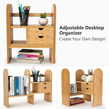 Load image into Gallery viewer, Home tribesigns bamboo desktop bookshelf counter top bookcase adjustable with 2 drawers desk storage organizer display shelf rack for office supplies kitchen bathroom makeup natural
