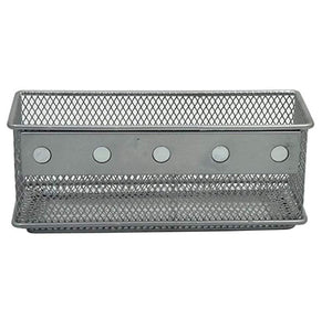 Exclusive magnetic office organizer set of 3 magnetic rectangular metal mesh storage bins basket perfect for whiteboard refrigerator and locker accessories silver