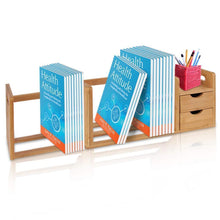 Load image into Gallery viewer, Explore bamboo wood expandable desk organizer desktop tabletop organic wooden filing organization bookshelf w storage drawer for book home office file paper supplies cookbook serenelife sldcab180