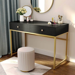 The best tribesigns computer desk modern simple home office gold desk study table writing desk workstation with 2 storage drawers makeup vanity console table 47 inch black