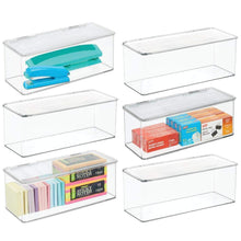 Load image into Gallery viewer, Best seller  mdesign long plastic stackable home office supplies storage organizer box with attached hinged lid holder bin for note pads gel pens staples dry erase markers tape 8 pack clear