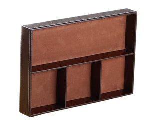 Best seller  valet tray men nightstand drawer organizer 4 compartments pu leather office table stationery storage box for key phone coin wallet jewelry glasses cosmetics business card pen watch note paper brown