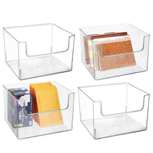 Load image into Gallery viewer, Save mdesign plastic open front home office storage bin container desk organizer tote for storing gel pens erasers tape pens pencils highlighters markers 12 wide 4 pack clear