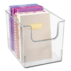 Top rated mdesign plastic open front home office storage bin container desk organizer tote for storing gel pens erasers tape pens pencils highlighters markers 8 wide 4 pack clear