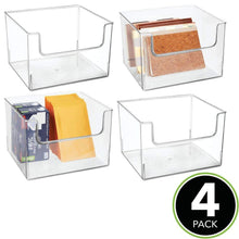 Load image into Gallery viewer, Shop here mdesign plastic open front home office storage bin container desk organizer tote for storing gel pens erasers tape pens pencils highlighters markers 12 wide 4 pack clear