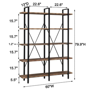 Explore o k furniture double wide 5 tier open bookcases furniture vintage industrial etagere bookshelf large book shelves for home office decor display retro brown