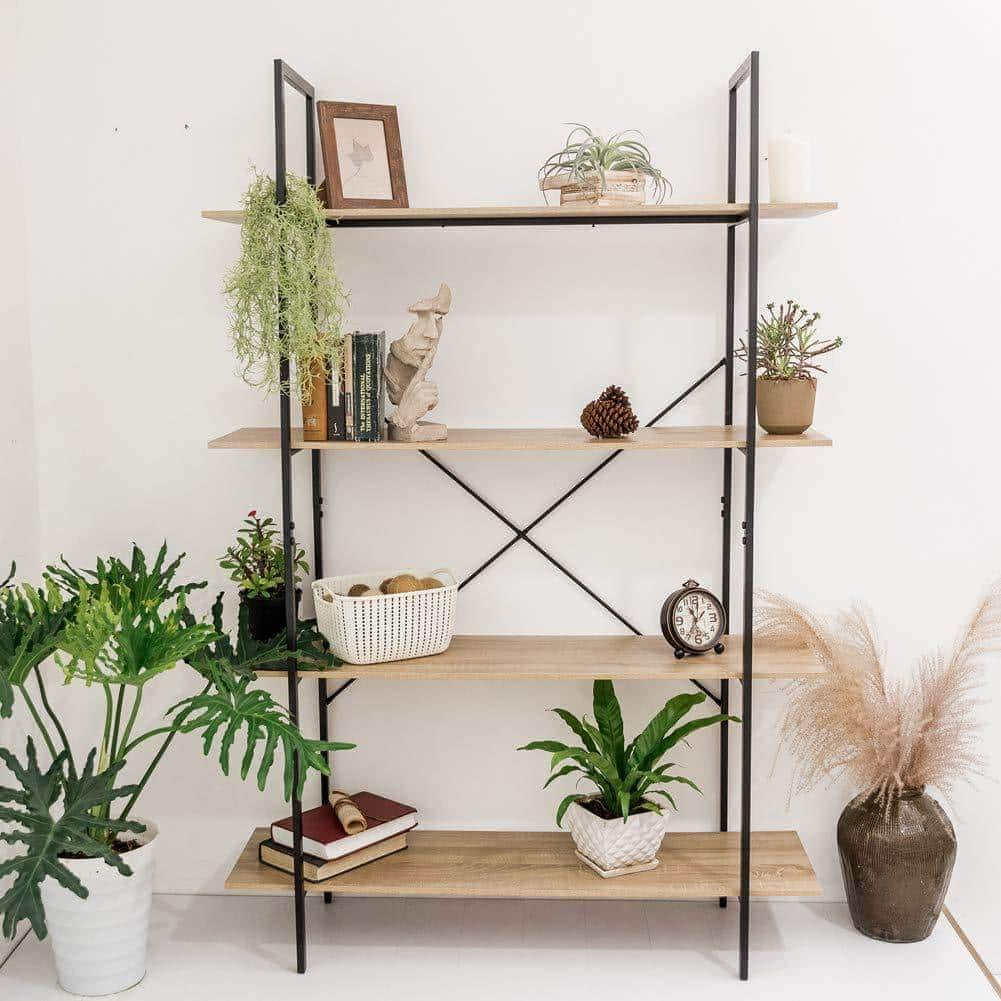 Order now c hopetree open bookcase bookshelf large storage ladder shelf vintage industrial plant display stand rack home office furniture black metal frame 4 tier open