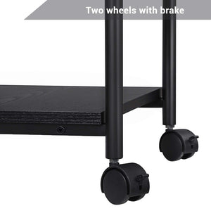 Budget songmics adjustable printer stand desk mobile machine cart with 2 shelves heavy duty storage trolley for office home black uops03b