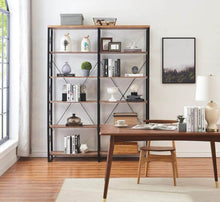 Load image into Gallery viewer, Results o k furniture 80 7 double wide 6 shelf bookcase industrial large open metal bookcases furniture etagere bookshelf for home office vintage brown