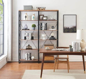 Results o k furniture 80 7 double wide 6 shelf bookcase industrial large open metal bookcases furniture etagere bookshelf for home office vintage brown