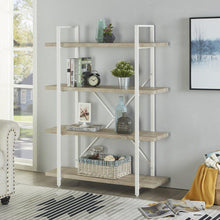 Load image into Gallery viewer, Explore homissue 4 shelf modern style bookshelf light oak shelves and white metal frame open bookcases furniture for home office 54 9 inch height