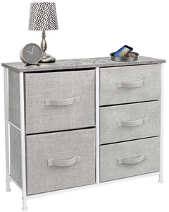 Organize with sorbus dresser with 5 drawers furniture storage tower unit for bedroom hallway closet office organization steel frame wood top easy pull fabric bins gray