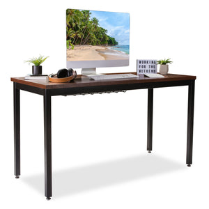 Heavy duty computer desk for home office 55 length table w cable organizer sturdy and heavy duty writing desk for small spaces and students laptop use damage free promise teak