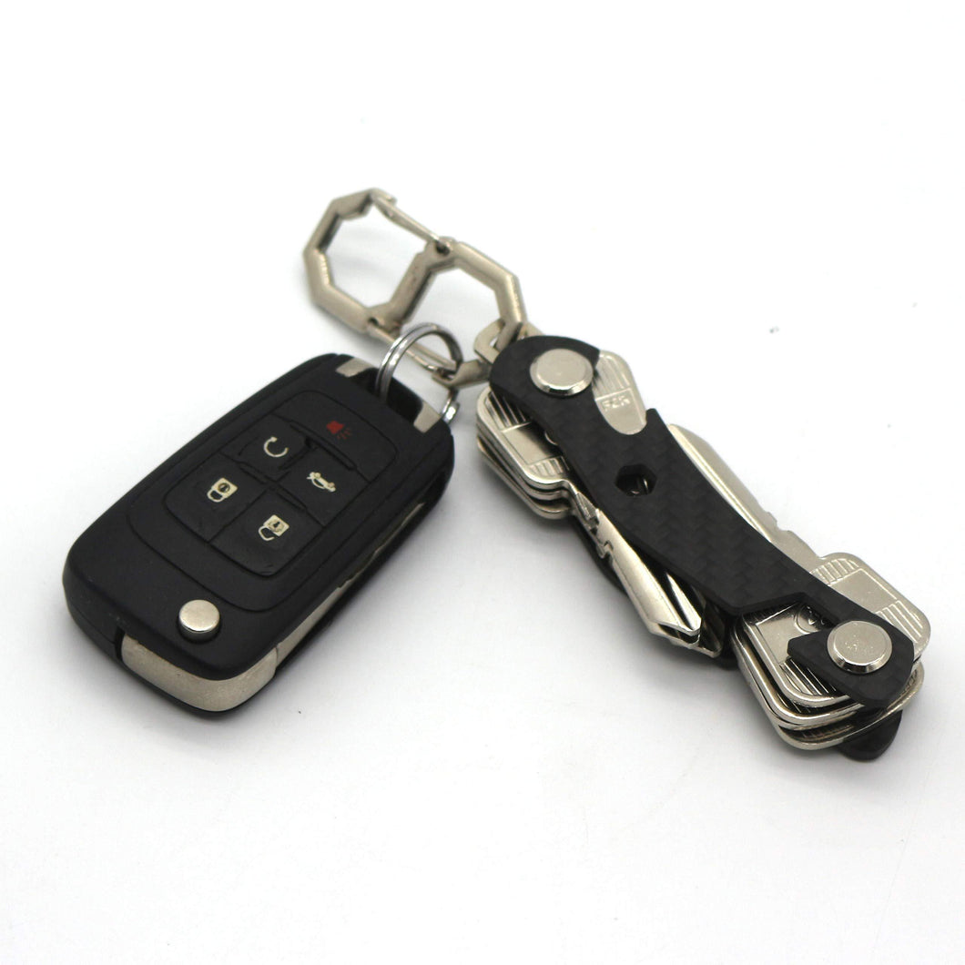Online shopping multi function black key organizer carbon fiber key chain key ring car accessory office supplies hook and keys by mulwee inc