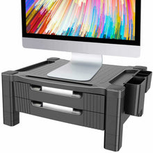 Load image into Gallery viewer, Budget friendly monitor stand riser with dual storage drawers adjustable computer screen riser printer stand desk organizer with phone and tablet slot removable holder for pen pencil office supplies by huanuo