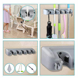 Budget shsycer mop and broom holder wall mounted garden storage rack 5 position with 6 hooks garage holds up to 11 tools for garage garden kitchen laundry offices