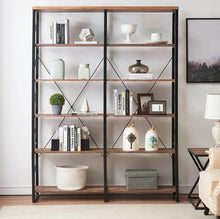 Load image into Gallery viewer, Save o k furniture 80 7 double wide 6 shelf bookcase industrial large open metal bookcases furniture etagere bookshelf for home office vintage brown
