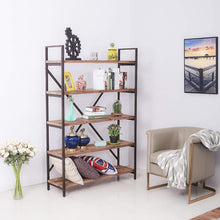 Load image into Gallery viewer, Latest care royal vintage 5 tier open back storage bookshelf industrial 69 5 inches h bookcase decor display shelf living room home office natural solid reclaimed wood sturdy rustic brown metal frame