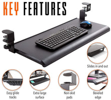 Load image into Gallery viewer, Top stand steady easy clamp on keyboard tray large size no need to screw into desk slides under desk easy 5 min assembly great for home or office