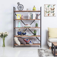 Load image into Gallery viewer, New care royal vintage 5 tier open back storage bookshelf industrial 69 5 inches h bookcase decor display shelf living room home office natural solid reclaimed wood sturdy rustic brown metal frame