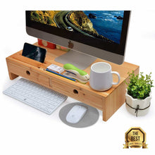 Load image into Gallery viewer, Heavy duty computer monitor stand with drawers wood tv screen printer riser 22 05l 10 60w 4 70h inch desk organizer in home office
