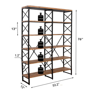 Kitchen ironck bookshelf double wide 6 tier 70 h open bookcase vintage industrial style shelves wood and metal bookshelves home office furniture