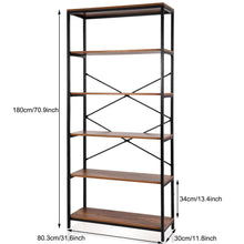 Load image into Gallery viewer, Select nice flyerstoy 5 tier bookcase vintage industrial standing bookshelf wood and metal bookshelves for home and office organizer us stock brown
