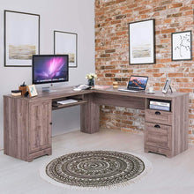Load image into Gallery viewer, Try tangkula 66 66 l shaped desk corner computer desk with drawers and storage shelf home office desk sturdy and space saving writing table grey