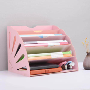 Select nice 5 sections assembly file sorter buckle design office wood file organizer document desktop folder for home students diy organization fan shaped mail letter desk file holder pink