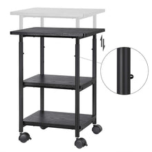 Load image into Gallery viewer, Best seller  songmics adjustable printer stand desk mobile machine cart with 2 shelves heavy duty storage trolley for office home black uops03b