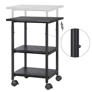 Best seller  songmics adjustable printer stand desk mobile machine cart with 2 shelves heavy duty storage trolley for office home black uops03b
