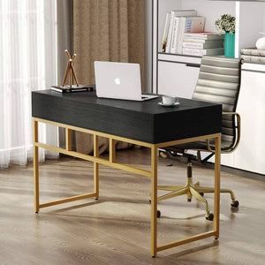 Top tribesigns computer desk modern simple home office gold desk study table writing desk workstation with 2 storage drawers makeup vanity console table 47 inch black