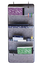 Load image into Gallery viewer, Budget friendly elegant wonders 4 pocket fabric wall organizer for house closet storage and office with wall mount or for hanging over the door or cubicle wallpockets accessory by ew gray